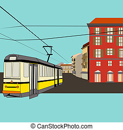 City Break, vector background with a tram and old high...