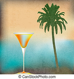 Tropical Isle Cocktails, vector template for an exotic...