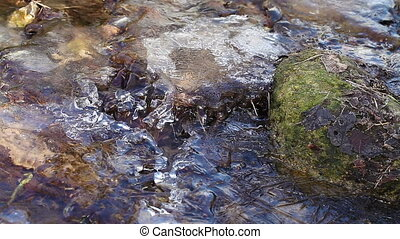 Flowing water - ice - Flowing water - thaw on creek