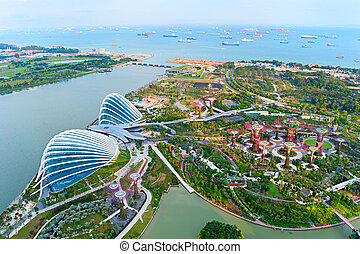 Gardens by the Bay birds eye view - An aerial view of...