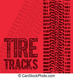 Tire Tracks - illustration of tire marks on white...