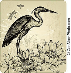 Background with blooming water lilies, bird herons and...