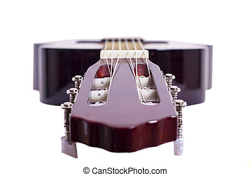 Guitar Headstock - The headstock of a guitar with tuners and...
