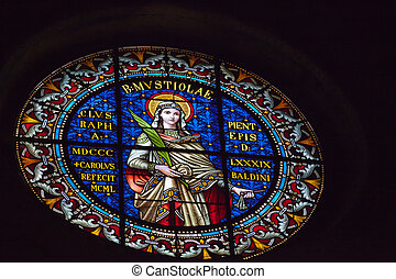 magnificent stained glass window in the cathedral of San...