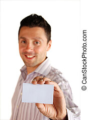 My card - close shot - A business man shows his card to the...