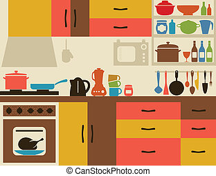 Kitchen - Ware on kitchen. A vector illustration