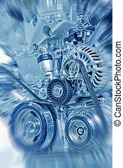 Engine - Complex engine of modern car interior view