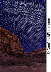 Starry Night on Long Canyon Road - Desert star trails...