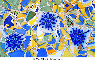 Random Masaic Pattern - Mosaic wall at Barcelona, Spain
