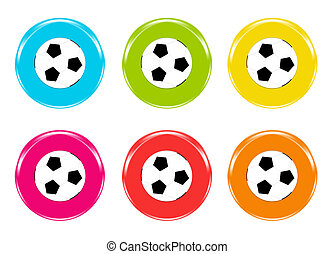 Colorful icons of footballs: blue, green, yellos, red, pink...