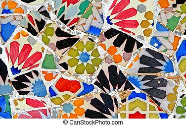 Random Mosaic Pattern - Mosaic wall at Barcelona, Spain