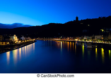 silhouette of castle in Cochem at night - silhouette of...