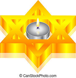 candle & star of David - Vector illustration of candle &...