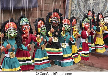 Puppets - Colorful puppets on a market stall in Kathmandu,...