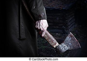 machado, sangue, macho, mão