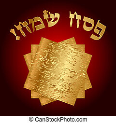 Happy Passover - Vector Happy Passover Hebrew card with...