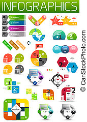 Set of colorful paper infographic design elements