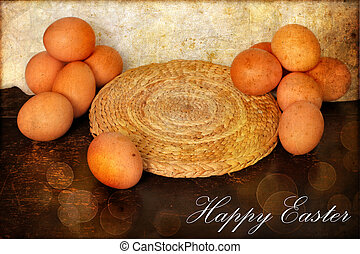 Easter card, Easter eggs, Retro spring background - Easter...