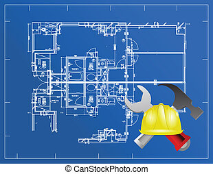 blue print and building tools