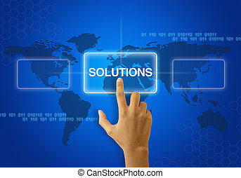 Selecting a Solutions Icon - A person touching a solutions...