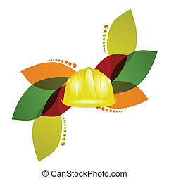construction helmet and floral design over a white...