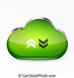 Vector green modern 3d glass cloud icon - Vector modern 3d...