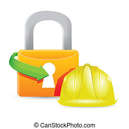 construction helmet and padlock illustration design graphic