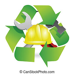 recycle and construction symbol join together illustration...