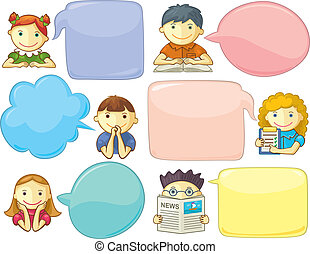 Cute Personages With Speech Bubbles - Vector icons with...
