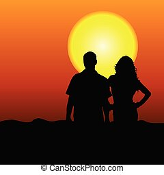 couple in the nature vector illustration