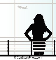 girl on the airport vector illustration