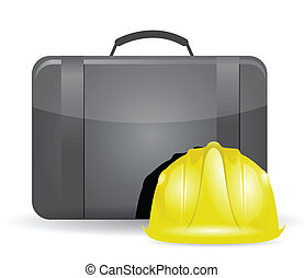 suitcase and construction helmet illustration design over...