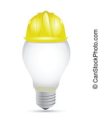 idea light bulb under construction sign illustration design...