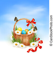 Easter background with Easter eggs with basket in the grass. Vector