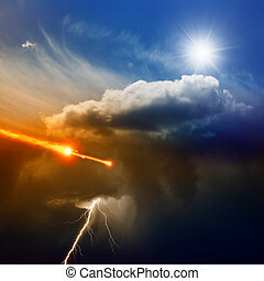 Dramatic background - lightning in dark stormy sky, sun...