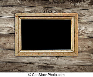 Vintage frame on wood background
