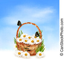 Natire background with summer flowers in basket and...