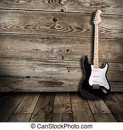 electric guitar in the room - electric guitar in the wooden...