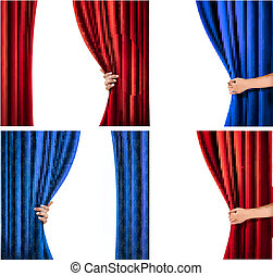 Set of backgrounds with red and blue velvet curtain and...