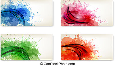 Abstract banners with watercolor splashes Vector