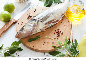 process of preparing raw fish, walleye closeup