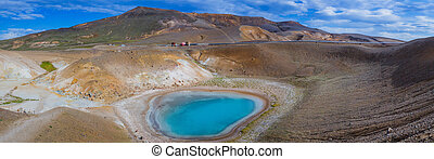 Krafla volcano Northern Iceland - The blue lake in the Viti...