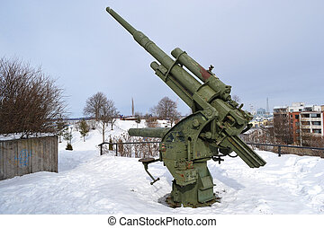 Old antiaircraft gun of the Second World War in Kotka,...