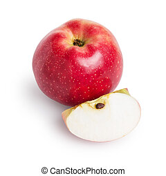 single red apple with lobule, isolated on white background