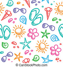 summer pattern - hand drawn seamless pattern with summer...