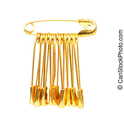 Golden pins - Bright golden pins isolated on white...