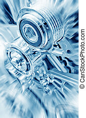 Engine - Car engine part - Close up image of an internal...