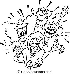 joyful group of women cartoon - Black and White Cartoon...