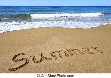 """""""Summer? written on golden sandy beach"""