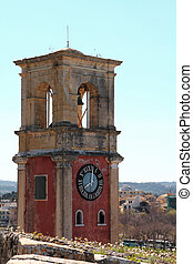 Old belfry tower in Corfu, Greece
